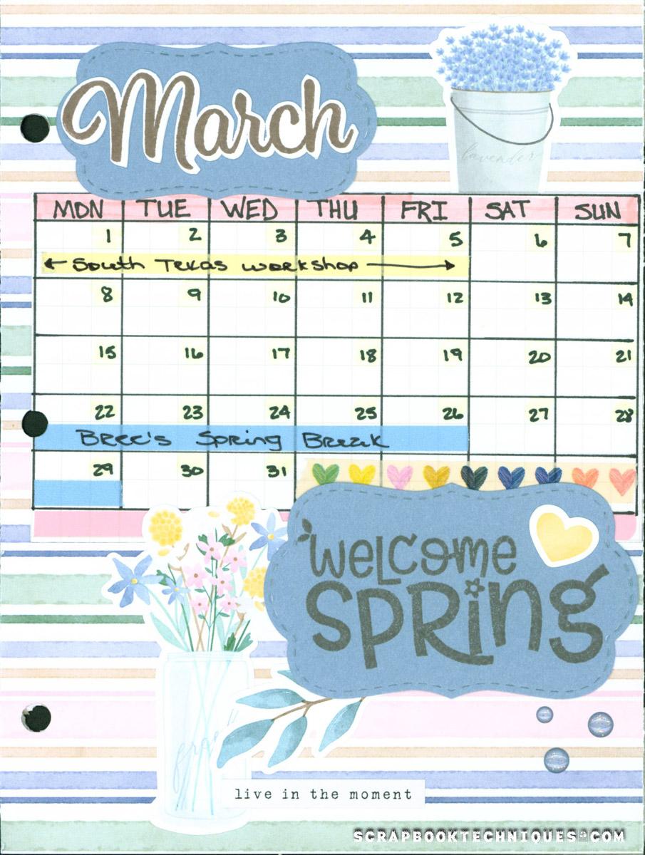 March Memory Journal Calendar